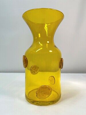 HUSTED Yellow Vase With Blenko Etch Mark. Mid Century Modern • 146.28£