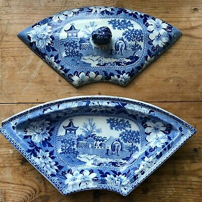 BLUE & WHITE TRANSFERWARE ANTIQUE PEARLWARE Rodgers Elephant Pattern Dish 1820 • 16.99£
