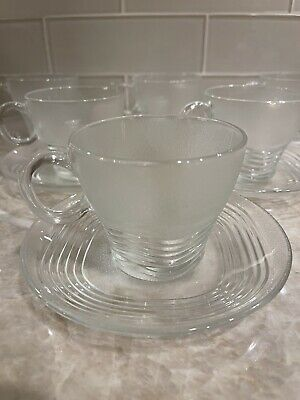 12 Duralex France Frosted Textured Retro Deco Wavy Coffee Tea  Cups And Saucers • 29.18£