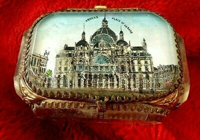 Antique French Ormulu Mounted Bevelled Glass Trinket Jewel Box For A Nurses Fund • 99£