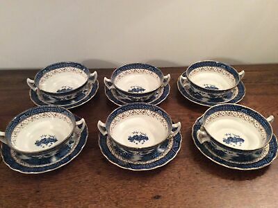 Booths Real Old Willow Two Handled Soup Coupes / Bowls X 6 Hardly Used Condition • 125£