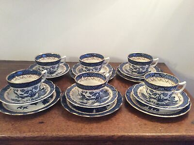 Booths Real Old Willow Tea Trios Cups Saucers & Plates • 45£