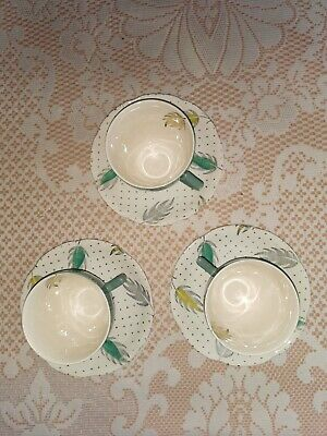 Broadhurst And Sons China Teacups And Saucers X 3 VERY RETRO 1950s • 6.50£