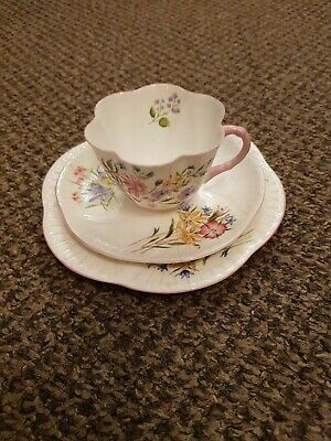 Shelley Wild Flowers Dainty  13668  TRIOS  Of Cup Saucer And Plate - Pink X 1 • 42£