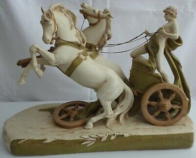 Genuine ROYAL DUX Porcelain  Chariot And Horses . Circa 1900. Large Piece. • 1,249£