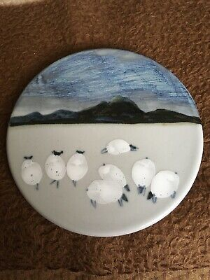 Highland Stoneware Pottery Plate/teapot Stand Handpainted • 20£