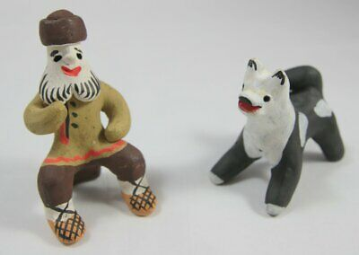 Vintage Seated Man And Dog Ceramic Figures Probably Russian / Eastern European • 24.95£