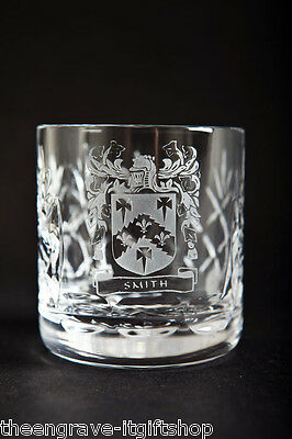 Crystal Whiskey Glasses - Family Crest - Lead Crystal - Gift Boxed • 39.99£