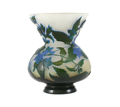 Emile Galle Art Glass Cameo Acid Etched Concaved Vase, C1900 Iris Flower In Blue • 2,570.27£