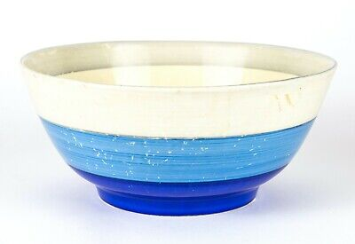 CLARICE CLIFF For LIBERTYS -GEOMETRIC- ART DECO NEWPORT BIZARRE BLUE BANDED BOWL • 149.99£