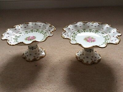George Jones Crescent China 2 Floral Comport Dishes • 40£