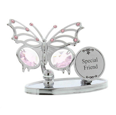 Ladies Gift Special Friend Butterfly Plaque Sign Boxed Swarovski Element Present • 12.99£