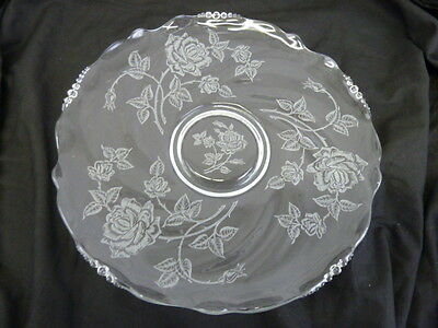 Vintage Etched Roses Flowers Clear Glass 14  Platter • 19.16£