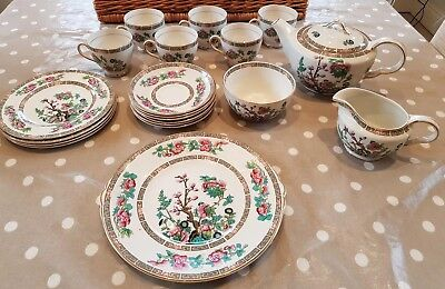 John Maddock Indian Tree Tea Set With Cake/Sandwich Plates, Beautiful Condition • 54.99£