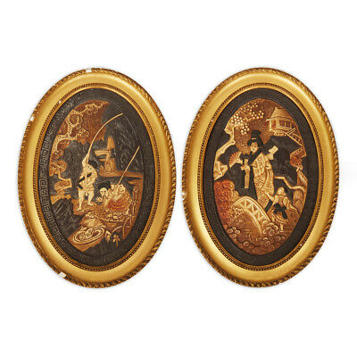 Pair Bretby Oriental Framed Art Pottery Plaques C.1900 • 440£