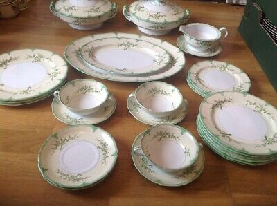 REDUCED TO CLEAR Antique Noritake 28 Piece Dinner Set Green&Yellow Floral C1911 • 129.99£