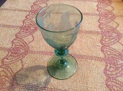 Engraved Wine Glass, C1900 • 28£
