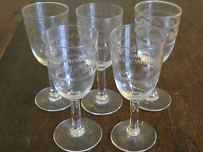 5  Vintage Etched Glass Drinking Glasses  Small Stemed Glasses Sherry, Etc. • 14.95£