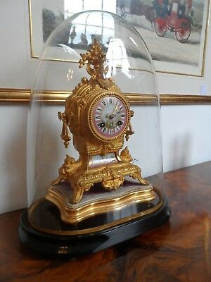 Antique Sevres Painted Panels- French Gilt Clock With Plinth And Dome • 595£