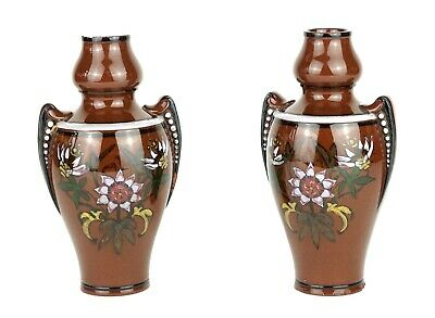-WATCOMBE POTTERY- C19th STUDIO TERRACOTTA ART POTTERY BROWN GLAZED FLORAL VASES • 50£