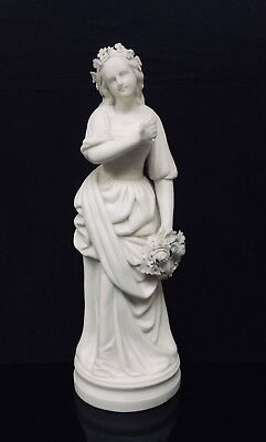 Antique Parian Figure Of Maiden Holding A Floral Wreath • 50£