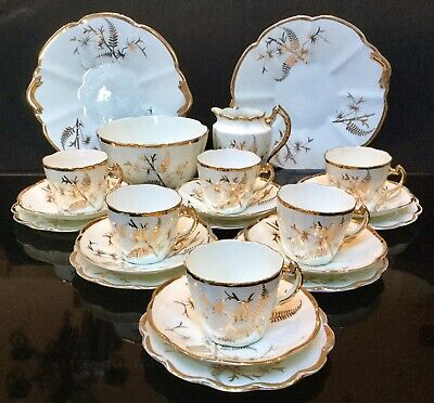 Antique/vintage Porcelain Cups And Saucers/tea Set White And Gold Hard Paste • 80£