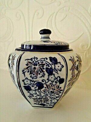 Ceramic Hand Painted Jar With Lid Cobalt White Gold 12cmH Great Condition Signed • 15£