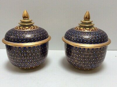Pair Of Thai High Quality Porcelain Bowls With Lids. • 45£