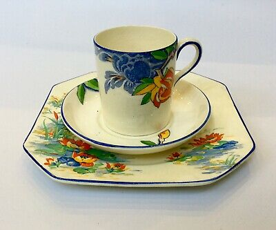 Art Deco Corona Ware Demitasse Langtrey 7263 Mis Matched  Midwinter Kingfisher • 10£