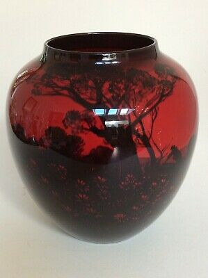 Large Red Flambe Early Royal Doulton Vase _ Priced To Sell! • 80£