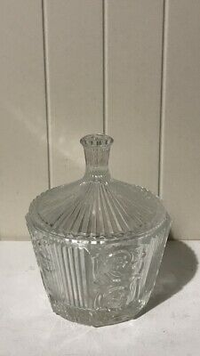 Antique Crystal Cut & Ribbed Clear Glass Candy Jar With Lid • 17.80£