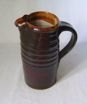 Brown Glazed Studio Pottery Jug With Two Seal Marks: Hand Thrown • 16£