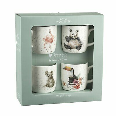 Royal Worcester Wrendale Designs By Hannah Dale Set Of 4 Animal Mugs In Giftbox • 29.50£