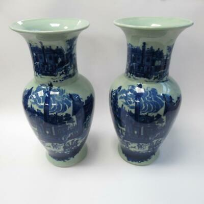 Vintage Pair Of Victoria Ware Ironstone Blue & Green Decorative Ornate Vases 14  • 70£