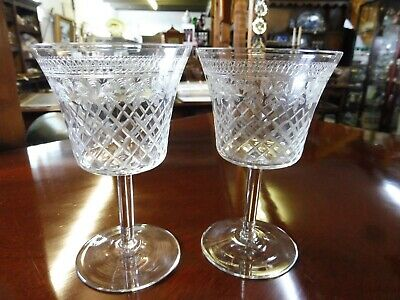 Pair Of Acid Etched Edwardian Glasses • 28£