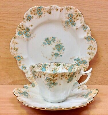 Wileman Snowdrop Shape  Trailing Violets  Pattern 6949 Tea Cup Trio. • 155£