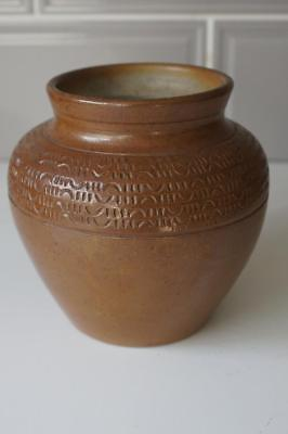 A Lovely Brown Pottery Vase With Some Engraved Decoration. • 9.99£