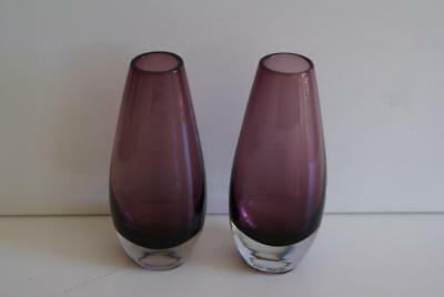 2 X Small Amethyst And Clear Glass Vases. • 14.99£