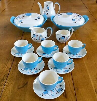 1950s Coffee Cups, Tureens, Jugs, Palissy Gaydays Blue Atomic Design • 50£