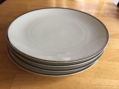 4 Thomas China - Germany - 9.5  Diameter Small Dinner Plates -Thick Silver Line • 31.99£