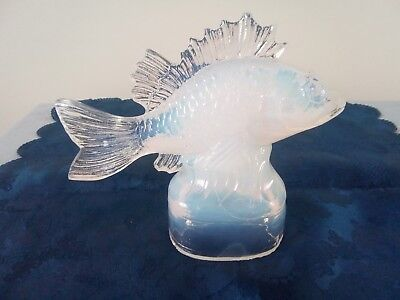 Rare Opalescent Glass Fish Signed Verlys France Large Possibly Car Mascot ? • 152£