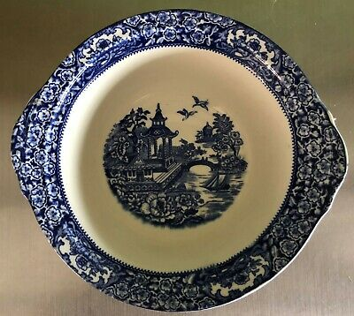 Olde Alton Ware Blue & White Pagoda Willow Pattern Deep Dish • 3.50£