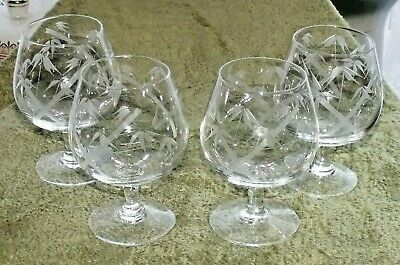 Set Of 4 Acid Etched Brandy Glasses • 10.49£