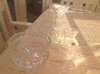 3 Pieces Of Tyrone Crystal ( Bowl & 2 Vases) • 20£