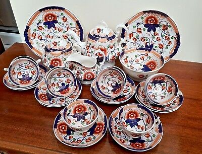 Early Victorian Gaudy Welsh/Dutch Extensive Tea Service Variation Of Vine  • 125£