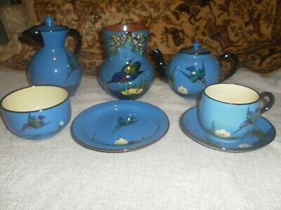 Torquay Pottery, Kingfisher, Coffee,Tea & Sugar Pot, Cup And Saucer ,Plate, Vase • 30£