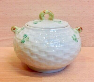 Belleek  Shamrock  Pattern Lidded Sugar Bowl. • 21.95£