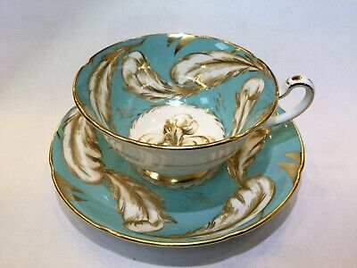 Cabinet Cup Royal Grafton Blue Feathers Footed Cup Pattern #K8045 Circa 1957+ • 30£