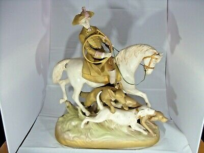 Royal Dux Figural Group Mounted Huntsman And 3 Hounds. Reduced Price *** • 485£