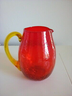 Amberina Crackle Glass Pitcher Blown Applied Handle Six Inches Tall • 15.50£